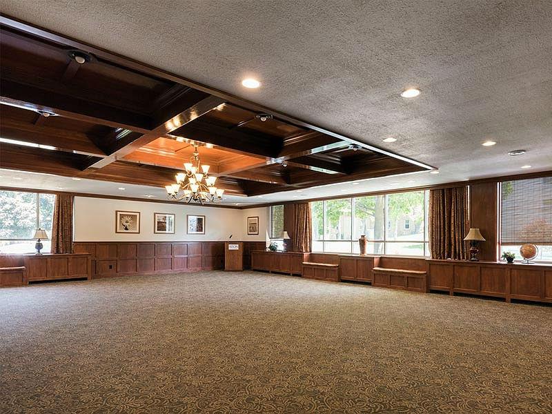 Large, historic room (Dahm Heritage Room) empty