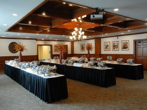 Large, historic room (Dahm Heritage Room) with catering tables