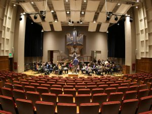 view from seating of large music hall (Demmer Recital Hall)