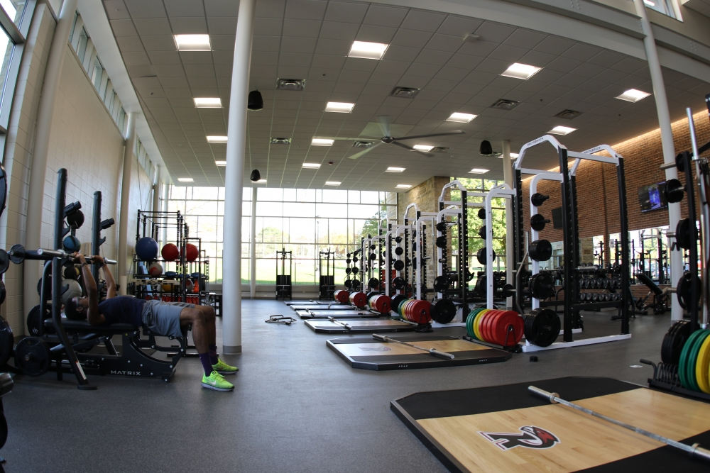 large weight room with equipment