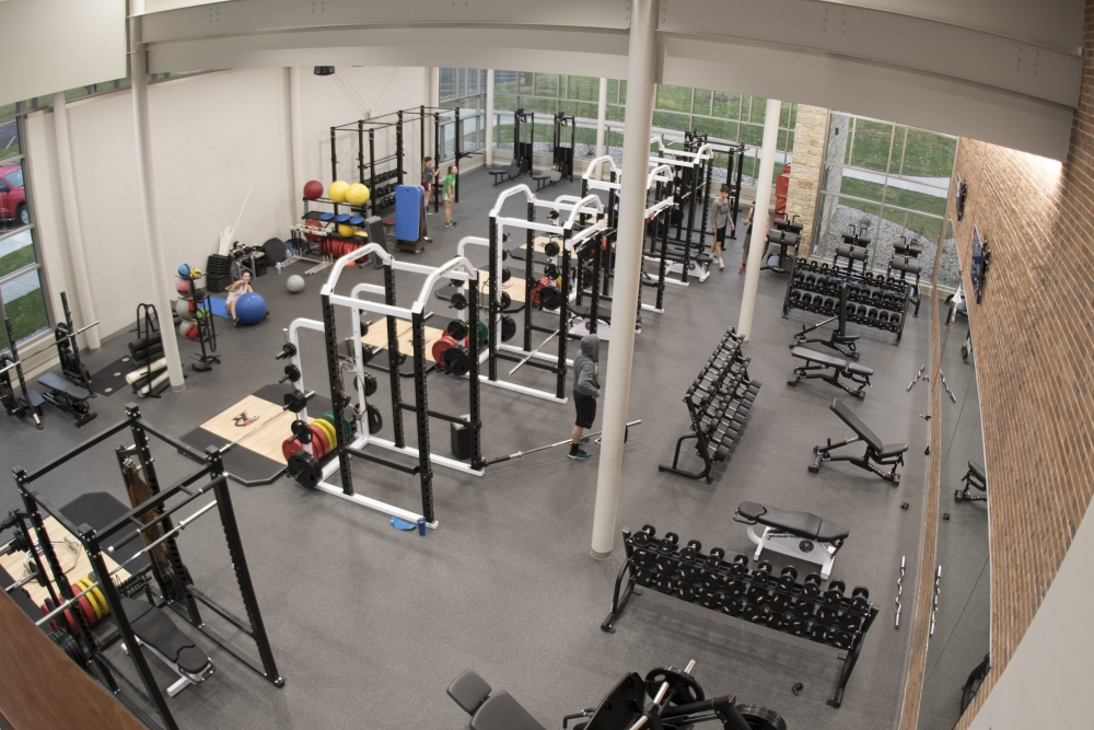 aerial shot of a weight room